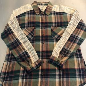 Flannel & Lace Button-Down Top